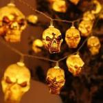1 pezzo luce stringa halloween con 10 pezzi lampadina a forma di cranio
