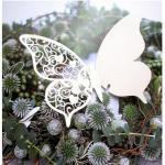 100 farfalle Segnaposto segnabicchiere BIANCA PERLATA bomboniera matrimonio segnatavolo