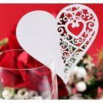 100x Cuore Segnaposto Tavola in Carta Perlata Matrimonio Cerimonia Bicchieri
