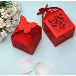 10pz Farfalle Bomboniere ROSSO PERLATO Matrimonio Porta Confetti Partecipazioni