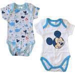 2 Body Neonato Mezza Manica in Puro Cotone Mickey Disney Art. WD101275 (12 Mesi)