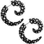 2 spirale finto plug fake taper orecchini da avvitare piercing nero bianco stella senza dilatazione