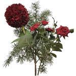 2474U - Bouquet di fiori in seta rosso, effetto inverno, 65 cm, fiori artificiali, fiori secchi, rami realistici, decorazione natalizia, senza vaso