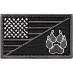 2AFTER1 ACU USA American Flag K-9 Dog Handler Subdued Morale Tactical Embroidery Touch Fastener Patch