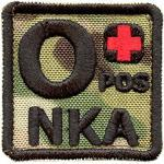 2AFTER1 Multicam O POS O+ NKA Blood Type OD Embroidered Touch Fastener Patch