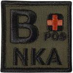 2AFTER1 Olive Drab B POS B+ NKA Blood Type OD Green Embroidered Fastener Patch