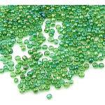 3300 perline in vetro trasparente da 3 mm, set di colori arcobaleno, 8/0, perline per pony, trasparenti, mini perline per bambini, perline per bambini, (verde AB)