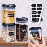 4 pezzi Contenitori ermetici per alimenti – Contenitori per Alimenti Ermetici con Etichette - I migliori contenitori per farina e cereali in cucina,Barattoli in plastica trasparente con coperchi