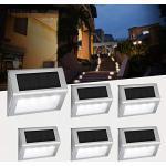 [6 pacchi] Luce per scale solare, Easternstar 4 LED Luci solari da esterno Inossidabile Acciaio impermeabile Lampada per recinzione Giardino Scala Percorso Strada Patio Parco Ponte