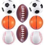 8 pezzi mini palla di schiuma di sport giocattolo divertente palle da stress palla giocattoli per bambini giocattolo favore di partito (calcio, basket, baseball, rugby, ogni modello ha 2 pezzi)
