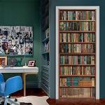 Adesivo Per Porte Libreria Vintage 3D Rimovibile Impermeabile Autoadesivo Door Murale Wallpaper 95 x 215 cm