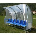 Af1502/6 panchina allenatori lunghezza 3 metri (6 posti) panchina da calcio copertura in policarbonato alveolare, tetto curvo seduta in scocche di pvc