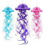 ANCLLO 3 Pezzi Appeso a nido d'ape Medusa Ornamento DIY Lanterne di carta, Sfera Shap Ciondolo Ocean Party Decoration, Rosa Blu Viola