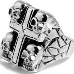 Anello con croce e teschi in acciaio