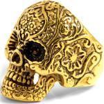 Anello con teschio dorato in acciaio