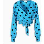 Bluse azzurre a pois con scollo a V per la primavera per Donna Art Dealer