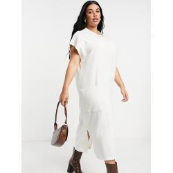 ASOS DESIGN Curve - Vestito midi super morbido bianco inverno con tasca