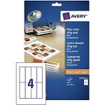Avery Zweckform, C32253-25, Biglietti, 25 fogli, A4-fogli con 4 carte segnaposto, senza strati, bianco, microperforazione, 185 g, 110 x 40, microperforato