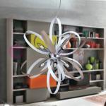AXO Lampadario a Sospensione Moderno Contemporaneo 6 Luci Cromo con Anelli Colorati