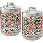 Baroni Home Set 2 Barattoli da Cucina Stampati con Tappo Ermetico in Alluminio Stile Cefalù Made in Italy capienza 0,8 L