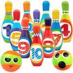 Birilli Bowling Bambini con 10 Birilli e 2 Palle Giochi da Spiaggia Esterno e al Coperto Giochi Educativi Idee Regalo per Bambini 3 4 5