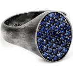 BLOOBLOOD Anello Da Uomo Mignolo Ovale Bb Man In Argento Tit.925 E Cubic Zirconia Blu Zaffiro Finitura Vintage