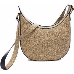 borbonese Borsa Donna a Tracolla Luna Bag Small in Tessuto linea Graffiti Colore OP Natural Black
