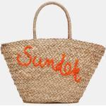 Borsa in paglia con fodera interna e scritta logo arancio ricamata sul davanti