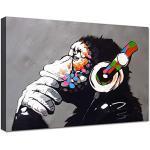canvashop Quadri Moderni cm 100x70 Banksy DJ Monkey Stampa su Tela Canvas Street Art Quadro Bansky Scimmia