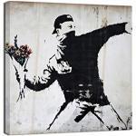 Canvashop Quadro Banksy Rage Flower Thrower Quadri Moderni Soggiorno Quadrati Stampa su Tela con Telaio cm 40x40 Street Art Quadrati Piccoli Bansky opere