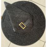Cappello Strega Con Cintura E Glitter Neri Halloween Diametro 46 Cm