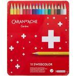 Caran d-Ache Swisscolor Aquarel 18's–Pennino di:, Multicolore, Rosso)