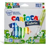 Carioca- Fabric Pennarello, 12 Pezzi, Colore Diversi, Punta Maxi, 40957