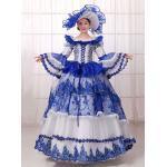 Carnevale Costume Vintage vittoriano palla abito Royal Blue Dress Donna con cappello Halloween