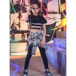 Carnevale Costumi di danza hip-hop Pantaloni hip-hop neri per bambini Costume da ballo di strada in cotone con lettere stampate a quadri Halloween