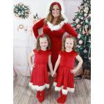 Carnevale Pigiama natalizio per famiglie Costume da Babbo Natale rosso peloso Halloween