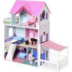 Casa Delle Bambole 3 Piani 86x30x87 Cm In Legno Con Accessori Rosa