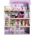 Casa Delle Bambole Per Bambini A 4 Piani In Legno Con Accessori Rosa 60x30x80 Cm
