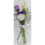 casavetro 24 x piccoli vasi di vetro bottiglie di vetro C decorazione collo d' aria incluso fiocco rustico vintage vaso trasparente Mini bottiglie di latte decorative, bianco, 24 Stück weiss