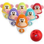 Chicco Monkey Strike Birilli Bowling Bambini - Set da Bowling con 6 Birilli Separabili, Impilabili in 12 Pezzi, Palla Leggera Inclusa - Giochi e Regali per Bambini 18 Mesi - 8 Anni