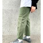 COLLUSION - Pantaloni skater stile militare kaki-Verde