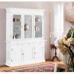 Cristalliera in legno finitura laccato bianco opaco, a 3 porte, 3 cassetti e 3 ante in vetro