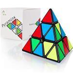 CUBIDI® Pyraminx Magic Cube 3x3x3 - Tipo Los Angeles - Look Classico – Pyramid Triangolo Magico Speed Cube - Antistress Bambini e Adulti - Fidget Spinner Perfetto Come Gadget Compleanno Bambini