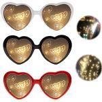 Cuore Occhiali Creativi Effetti Diffrazione Occhiali Occhiali Di Carnevale Retrò Occhiali Creativi Speciali 3D Occhiali Sole Festa Neon Occhiali Caleidoscopici Occhiali Fuochi D'Artificio 3 Pezzi