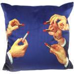 Cuscino Toiletpaper - / Lipsticks - 50 x 50 cm di Seletti - Blu/Multicolore - Tessuto