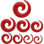 Dilatatore Spirale brillante Taper Piercing Orecchio Tappo 1,6-10 mm per Tunnel Plugs Glitter trasparente rosso