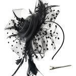 DRESHOW Fascinators per Capelli da Donna Fascinator Chapeau Nuptiale Plumes Cheveux Clip Accessoires Cocktail Royal Ascot
