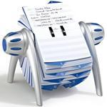 Durable 241623 - Telindex Flip Vegas, Schedario Rotativo da Scrivania, 500 Schede, Indice Alfabetico 25 Tasti, 215 x 120 x 185 mm, Argento Metallizzato
