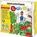 Eberhard Faber 578804-Set Dita EFA 4 barattoli da 100 ml ciascuno, ad Asciugatura Rapida e Lavabili, per mescolare e dipingere in Modo Creativo, Colore colorato, 578804