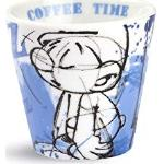 Egan PPU83/4AZ Bicchierini Caffe, Modello Puffo Tontolone, Porcellana, Azzurro, 4 unità
